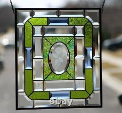 Beveled Stained Glass Window Panel- Hanging 18 5/8x16 1/2