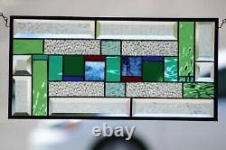 (´`)Beveled Stained Glass Window Panel, Ready to Hang 10 X 20