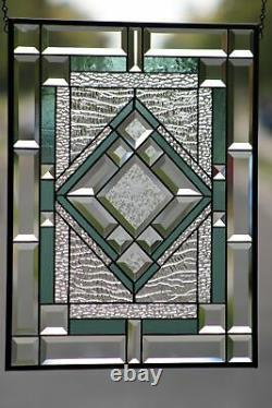 Beveled Stained Glass Window Panel, Ready to Hang 22 ½ x 17½