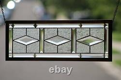 Beveled Stained Glass Window Panel, Ready to Hang 23 1/8 X 8 1/4