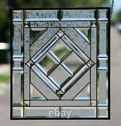 Beveled Stained Glass Window Panel, Transom, Hanging- Clear & Champagne