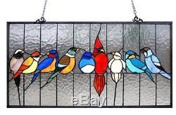 Birds Cage Tiffany Stained Glass Window Panel 24.5 X 13 Handcrafted Art Decor