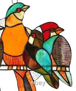 Birds Stained Glass Window Panel Tiffany Style Colorful Sun Catcher Bird Design