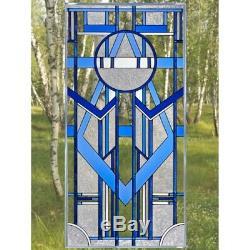 Blue Art Deco Glass Window Panel Suncatcher 20.5 x 42 Architectural Decor