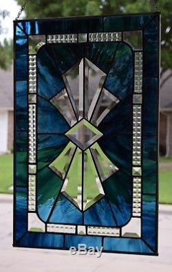 Blue Bow Tie Bevel Stained Glass Window Panel