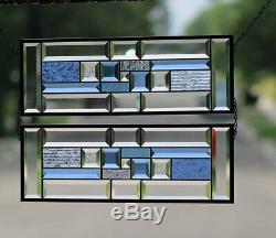 Blue Geo Sold Separately- 2 PANELS Available Beveled Stained Glass Window