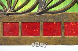 Bradley Hubbard Stained Glass Bent Panel & Brass Chandelier
