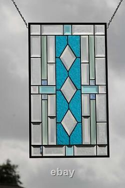Breezy Beveled Stained Glass Window Panel 24x 14