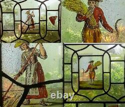 CHARMING 17th C. FLEMISH STAINED GLASS WINDOW PANELS A COUPLE IN FIELDS