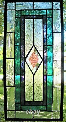 CLASSIC STYLE 21-1/2 x 10-1/2 real stained glass window panel hangs 2 ways