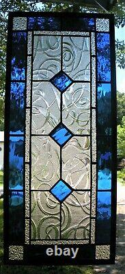 CLASSIC STYLE 23-3/4 x 10-1/2 real stained glass window panel hangs 2 ways
