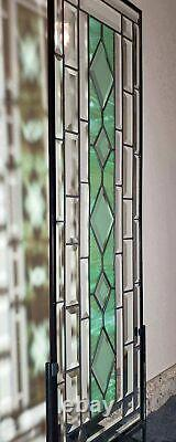 CLEAR-SAGE GREEN, Beveled Stained Glass Panel 32.5X10.5