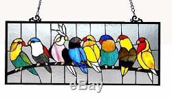COCKATOO PARROTS LOVE BIRDS PARAKEET Blue Yellow Red STAINED GLASS WINDOW PANEL