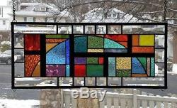 COLORFULLY GEOMETRICStained Glass Window Panel (Signed and Dated)