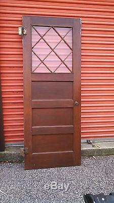 Cabinet Door With Criss Cross Glass Horizontal Panels Stained Can Ship