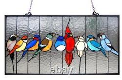 Cardinal Birds Hanging Stained Glass Window Panel Home Decor 24.5W