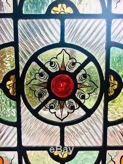 Circa 1871 Beautiful Victorian stained glass panel (W 29.5cms/H 42cms/D 0.5cm)