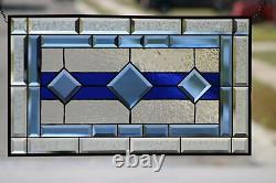Classic Cobalt Blue Beveled Stained Glass Panel 28 5/8x16 1/2