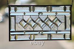 Classic Twist Clear Beveled Stained Glass Panel 21 1/2x 11 1/2
