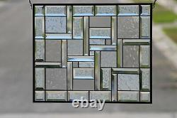 Clear Contemporary Beveled Stained Glass Window Panel 21 1/2 x 17 1/2