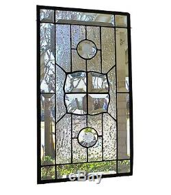 Clear, Iridized, Beveled, Stained Glass Window Panel, Hanging, Transom, Sidelight