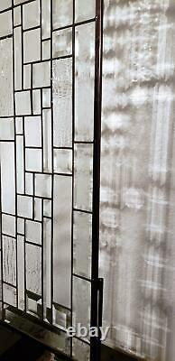 Clear Privacy Sidelight, Transom 42 3/4x13 3/4 Beveled Stained Glass
