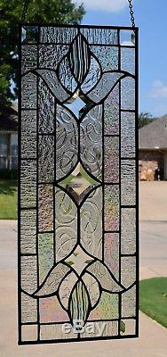 Clear Victorian Stained Glass Window Panel
