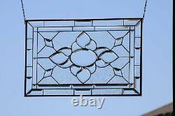 Clearly Stylish 26.5 X 17.5 -Beveled Stained Glass Window Panel