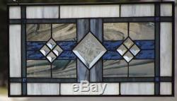 Cloud Nine Beveled Stained Glass Window Panel 19 ¼x9 ¼ (49x23cm)