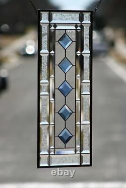 Cobalt-Beveled Stained Glass Window Panel- Hanging 26 1/2 x 10 1/2