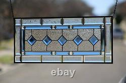Cobalt Blue-Beveled Stained Glass Window Panel- Hanging 28 5/8 x 12 1/2