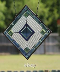 Cobalt Blue-Beveled Stained Glass Window Panel, Ready to Hang 22