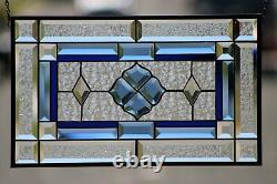 Cobolt-Beveled Stained Glass Window Panel- Hanging 20 1/2 x 12 3/8