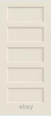 Conmore 5 Panel Primed Solid Core Molded Wood Composite Interior Doors Prehung