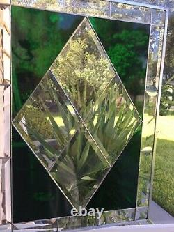 Contemporary Beveled Stained Glass Window Panel Hanging 15 1/2 X 20 1/2