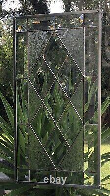 Contemporary Beveled Stained Glass Window Panel Hanging 9 1/2 X 18 1/2