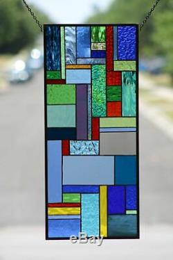 Contemporary Stained Glass Window Panel, Hanging (´`)