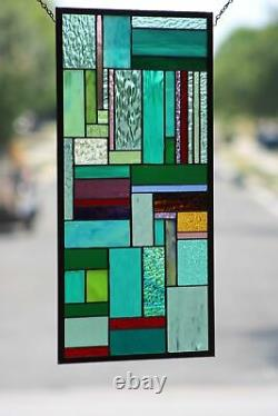 Contemporary- Stained Glass Window Panel, Hanging 25 3/4 x 13 3/4