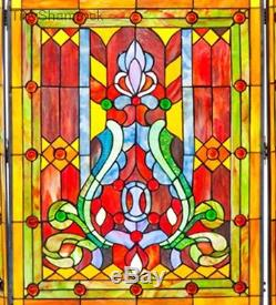 Decorative Tiffany Style Fireplace Screen Stained Glass 3 Panel Fireplace Hearth