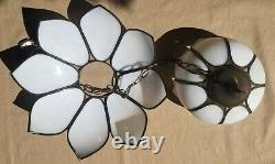 Double Tulip Slag Panel Stained Glass Swag Lamp Hanging Light Hollywood Regency
