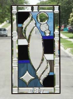 Dusk to Dawn Beveled Stained Glass Window Panel 29 ½ x16 ½