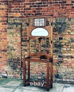 Edwardian Light Oak Hall Stand With Stained Glass Panel
