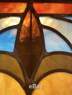 Edwardian Pub Antique Vintage Leaded Stained Glass Window Panel 23 1/2 x40 1/2