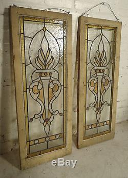 Elegant Pair of Vintage Antique Stained Glass Window Panels (2117)NS