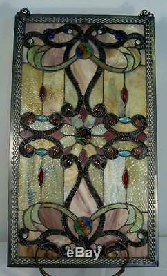 Elegant Tiffany Stained Glass Metal-Weave Border Window Panel, 26 x 15