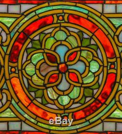 Evelyn in Topaz Transom Tiffany Style Stained Glass Window Panel 35W X 11H