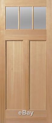 Exterior Entry Craftsman Flat Panel Hemlock Solid Stain Grade 3 Lite Wood Doors