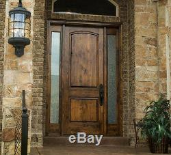 Exterior Entry Knotty Alder 2 Panel Arch Top Solid Wood Stain Grade Door Prehung