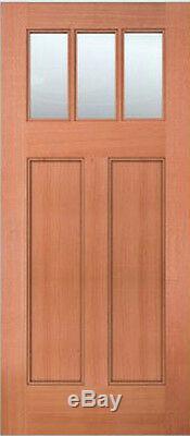 Exterior Entry Mahogany Craftsman Flat Panel Solid Stain Grade 3 Lite Wood Doors