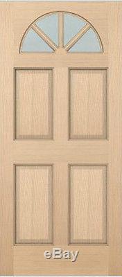 Exterior Hemlock Solid Stain Grade 4 Panel Raised Fan Lite Glass Arch Top Doors